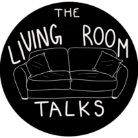 "Graphic for The Living Room Talks features a couch outlined in white with a black background. White letters read ""The Living Room Talks"""