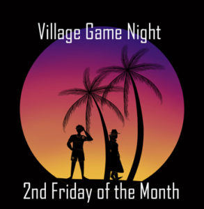 "The image displays the logo for the game Tourists and Spies with the words ""Village Game Night; 2nd Friday of the Month"""