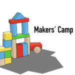 This graphic is the image for Makers' Camp. It features an illustration of colorful wooden blocks in the shape of a house.